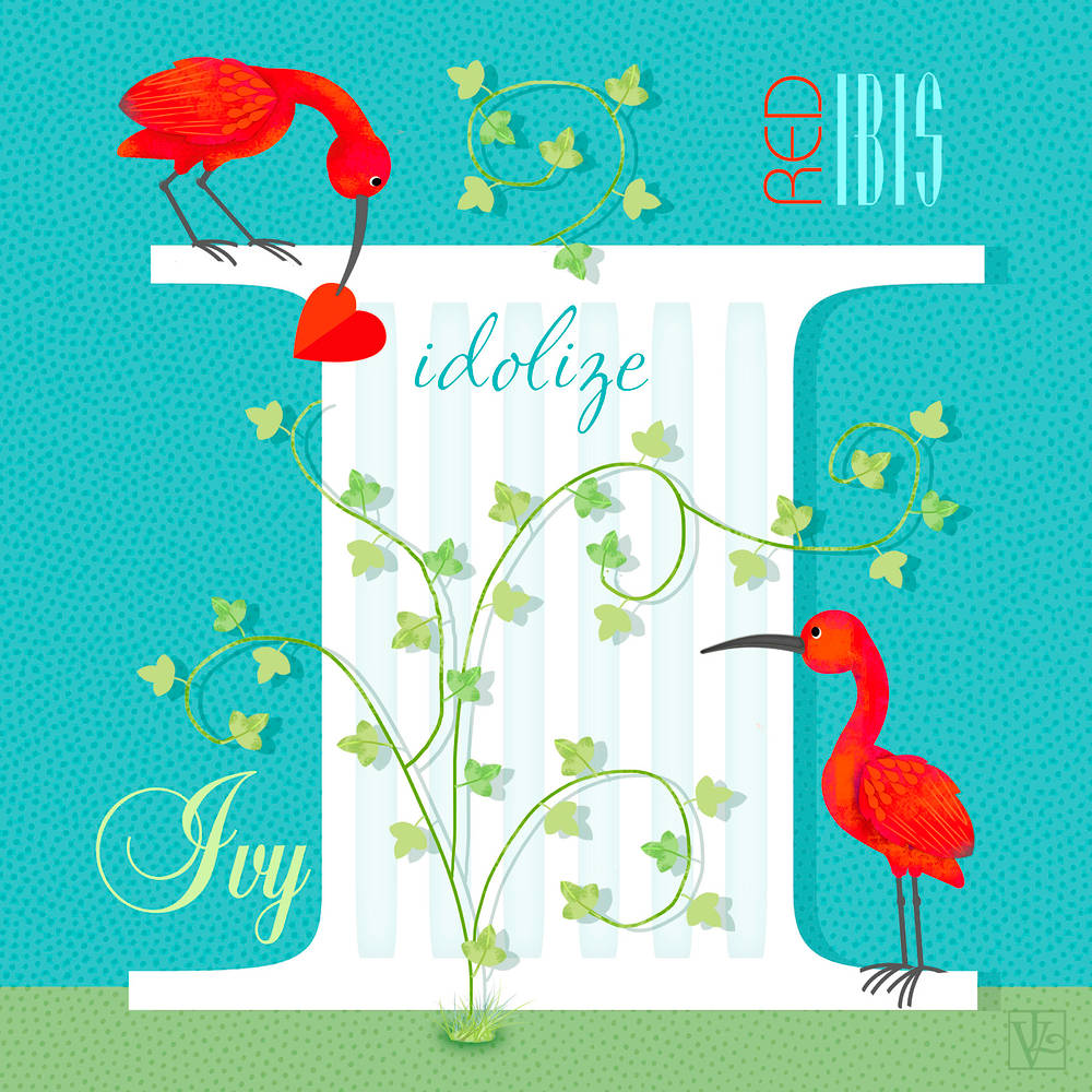 Letter Capital I for Ibis  by Valerie Lesiak