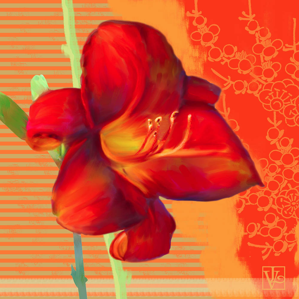 Painting Orange Lily by Valerie Lesiak