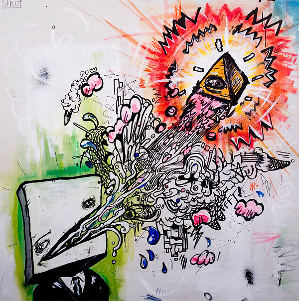 Initiation.30X30in.Acrylic:ink:canvas.Feb2009 by Dylan Humphreys