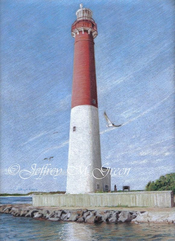 "© Jeffrey M Green. ""Lighthouse Reflections"", 9"" x 12"", colored pencils on dark gray pastel paper. by Jeffrey Green"