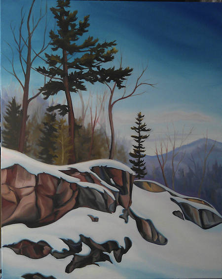 Oil painting Algonquin Rocks by Linda Lang