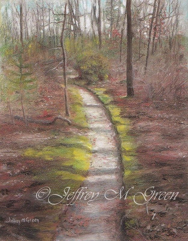 "© Jeffrey M Green. ""Shadows On the Moss"", 8"" x 10"", pastels.  by Jeffrey Green"