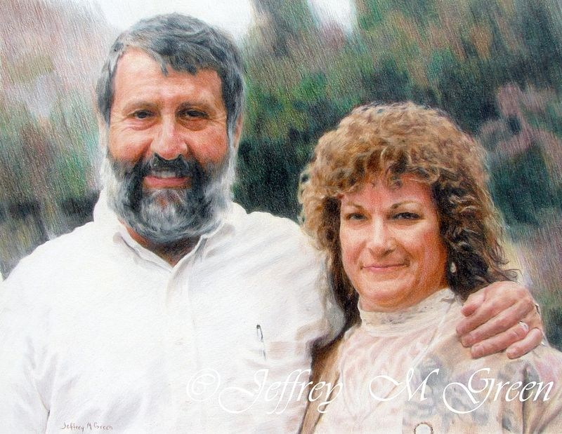 "© Jeffrey M Green. ""Jeff & Carole"", 11"" X 14"", colored pencils. by Jeffrey Green"