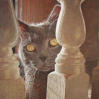 "© Jeffrey M Green. ""Top of the Stairs"", 15"" x 19"", colored pencils. by Jeffrey Green"