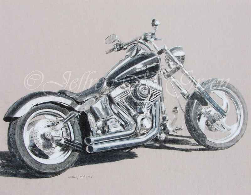 "© Jeffrey M Green. ""Bob's Bike"", 11"" x 14"", black and white colored pencils on French Gray mat board.  by Jeffrey Green"