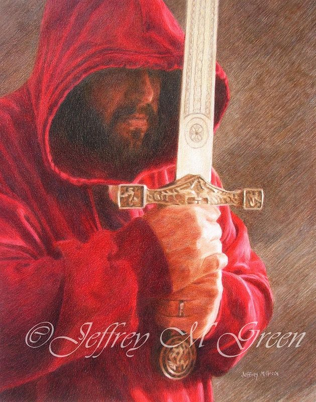 "© Jeffrey M Green. ""Contemplation"", 11"" X 14"", colored pencils. by Jeffrey Green"