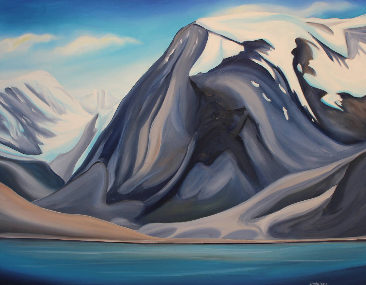 Oil painting Auyuittuq - Land that Never Melts by Linda Lang