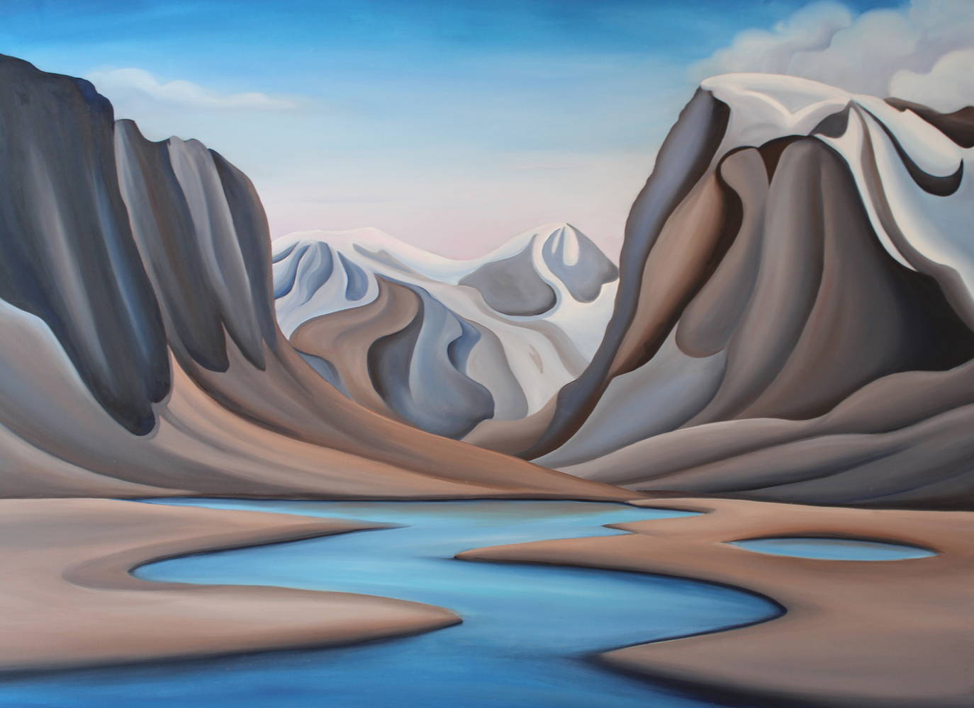 Oil painting Low Tide, Auyuittuq National Park, Baffin Island by Linda Lang