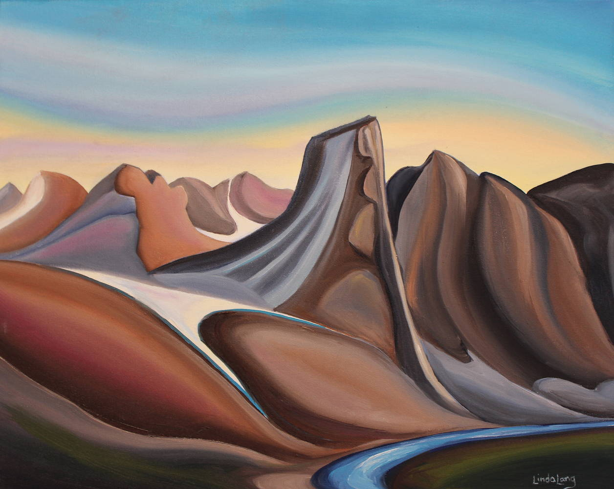 Oil painting Looking Back (towards Mt. Thor) by Linda Lang