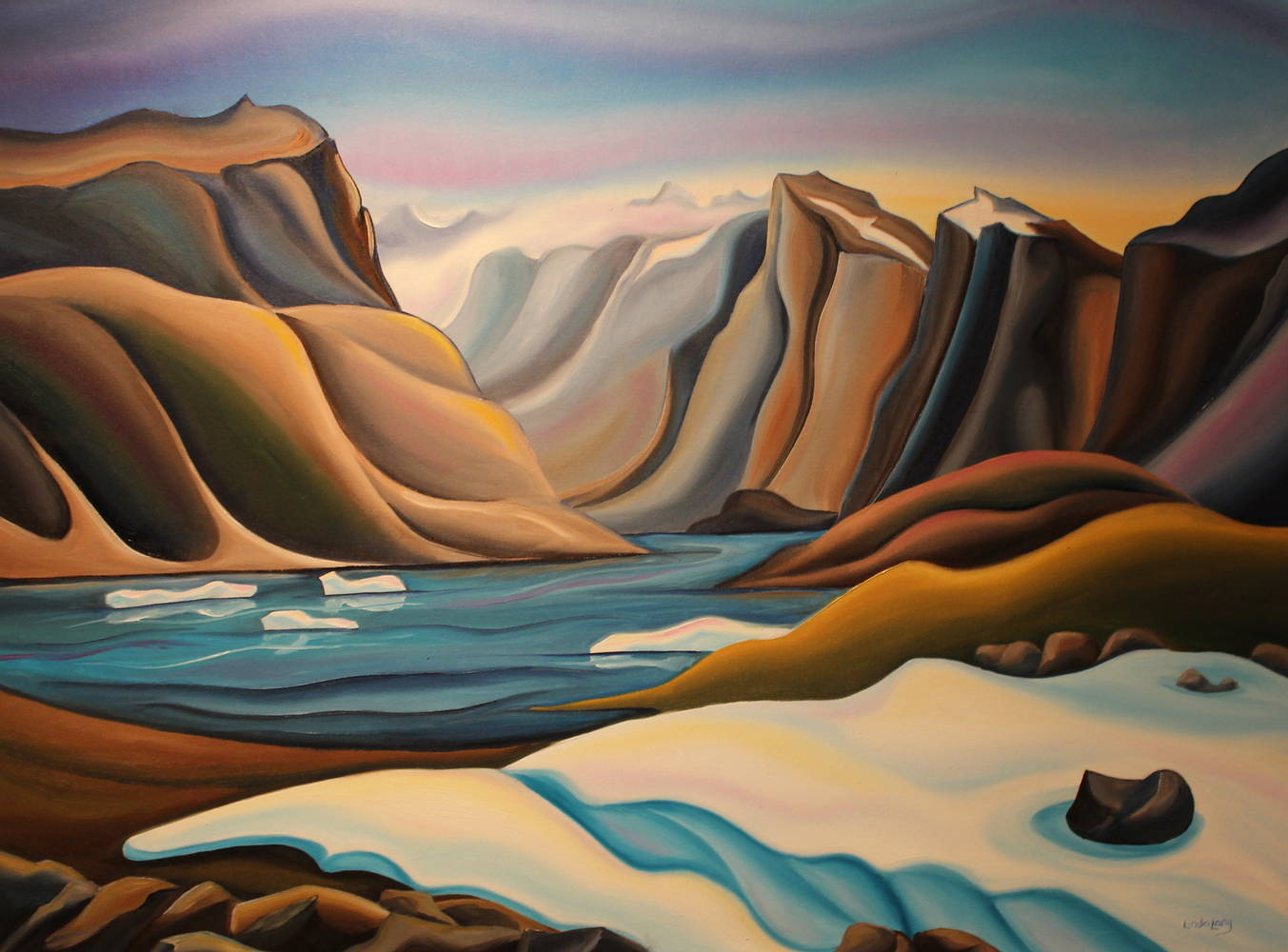 Oil painting View from Glacier, Pangnirtung by Linda Lang