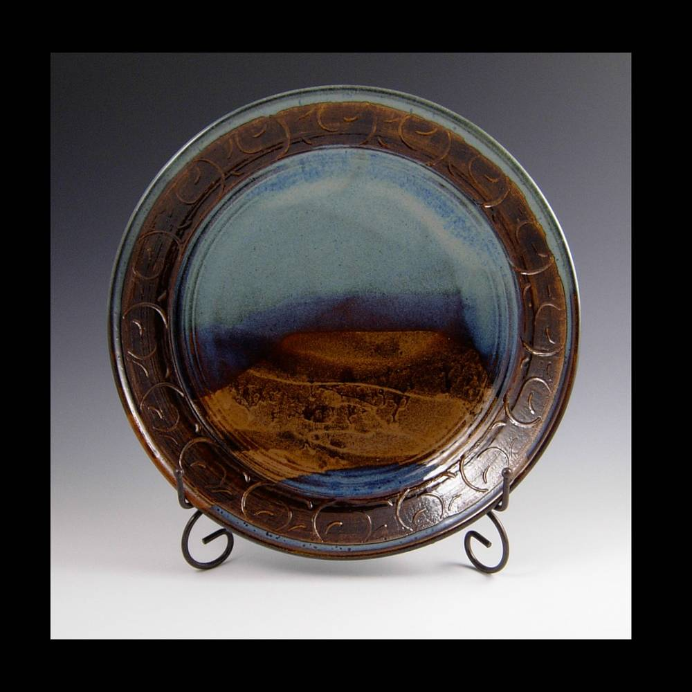 PLATE BLUE CARVED SERIES by Elaine Clapper