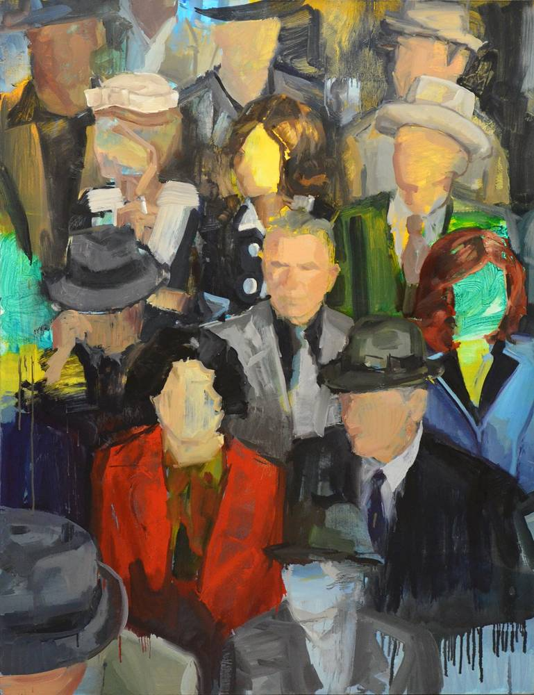 Oil painting Crowded by Serena Stevens