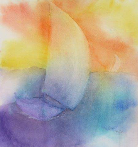Watercolor Two Sailboats, Yellow Sky by Yvonne Foster