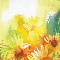 Acrylic painting Sunflowers by Yvonne Foster