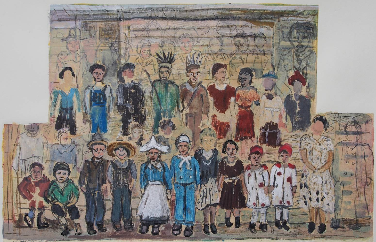 Mixed-media artwork Class Portrayal, 1938 by Dennis Worrel