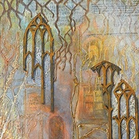 Mixed-media artwork Searching by Karen Holland