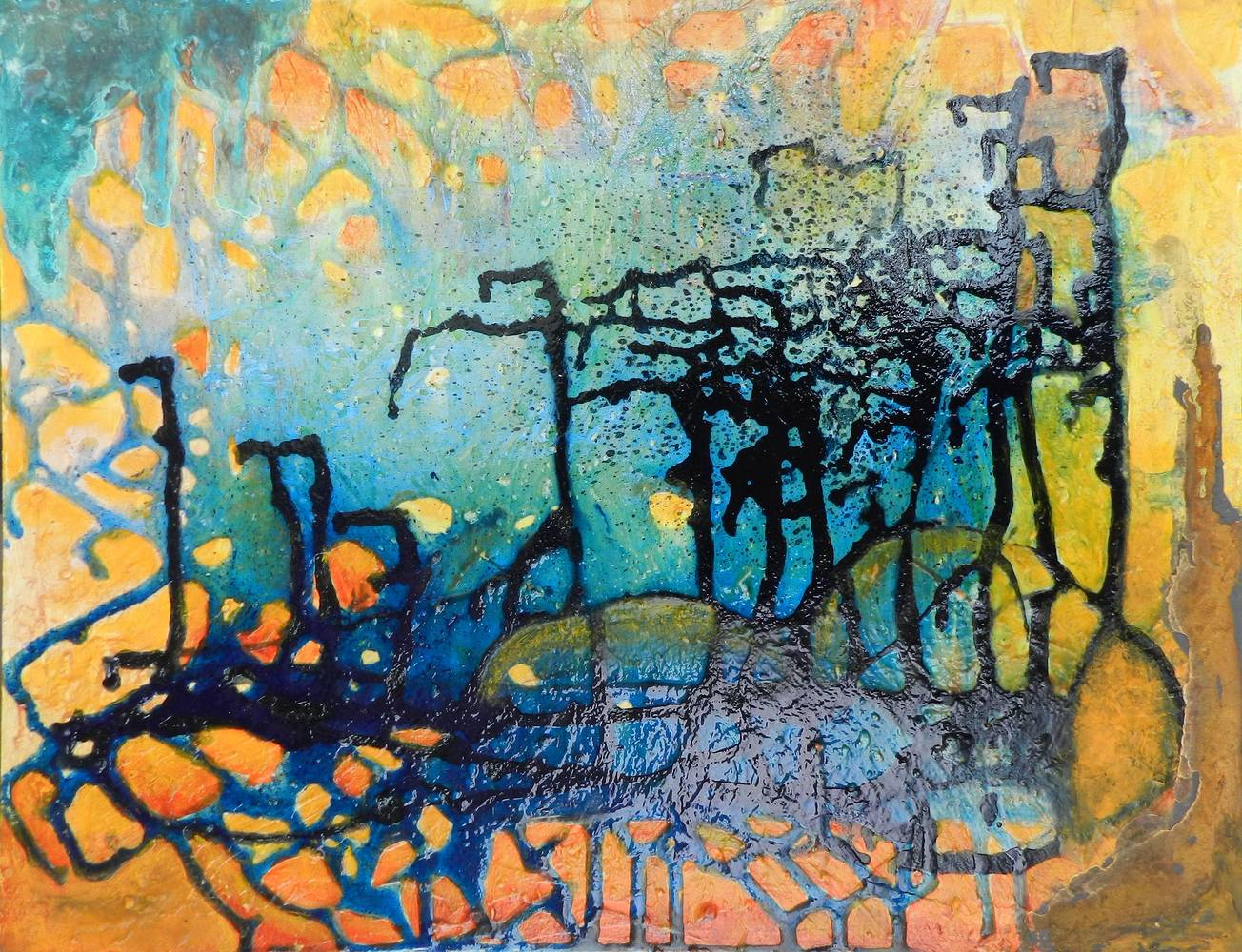 Mixed-media artwork Syncronicity by Karen Holland