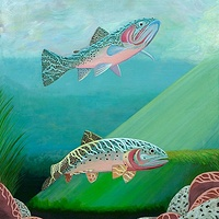 Acrylic painting CUTTHROATS by Richard Robertson