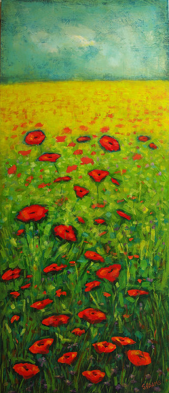 Acrylic painting Field of Poppies by Sally Adams