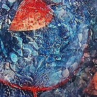 Oil painting Red Leaf and Rocks by Libuse Labik