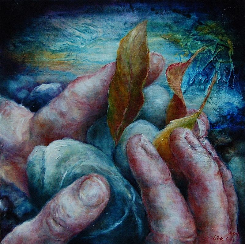 Oil painting Touch the Land I by Liba Labik