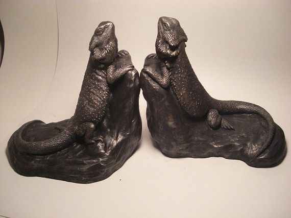 Painting Bearded Dragon Bookends by Jason  Shanaman