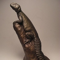 Painting Sudanese Uromastyx sculpture by Jason  Shanaman