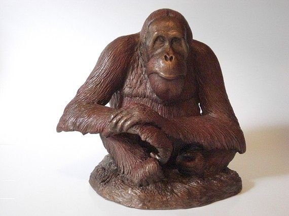 Oil painting Abdul Orangutan Memorial  sculpture by Jason  Shanaman