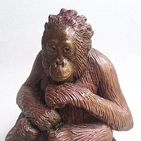"Painting ""Little Thinker"" Orangutan sculpture by Jason  Shanaman"