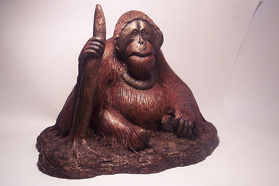 "Painting Orangutan sculpture ""Man Of The Vanishing Forest"" by Jason  Shanaman"