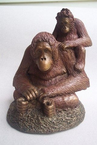 Painting Princess and Pan Orangutan sculpture by Jason  Shanaman