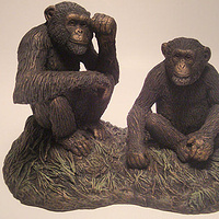 Painting Sitting Chimpanzees sculpture by Jason  Shanaman