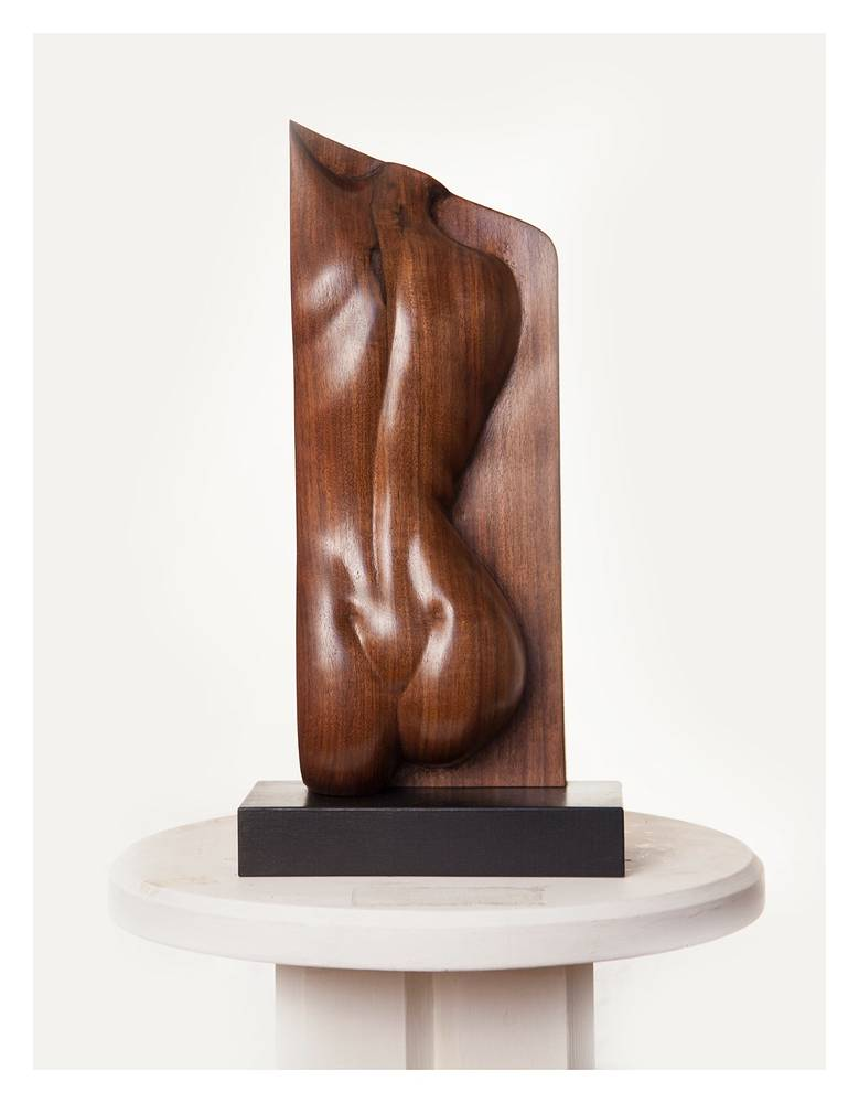 Dimples 2, Walnut - 12 x 4 x 3 inches by Larry Scaturro