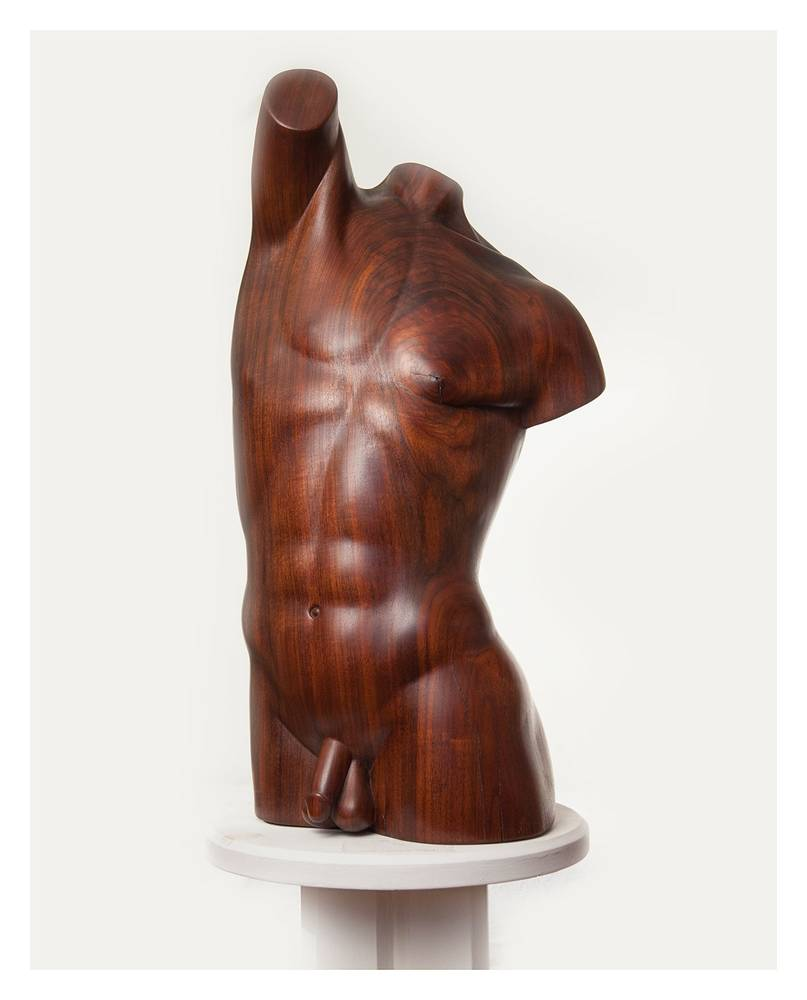 Torso In Flight, Walnut 29 x 11 x 9 inches by Larry Scaturro