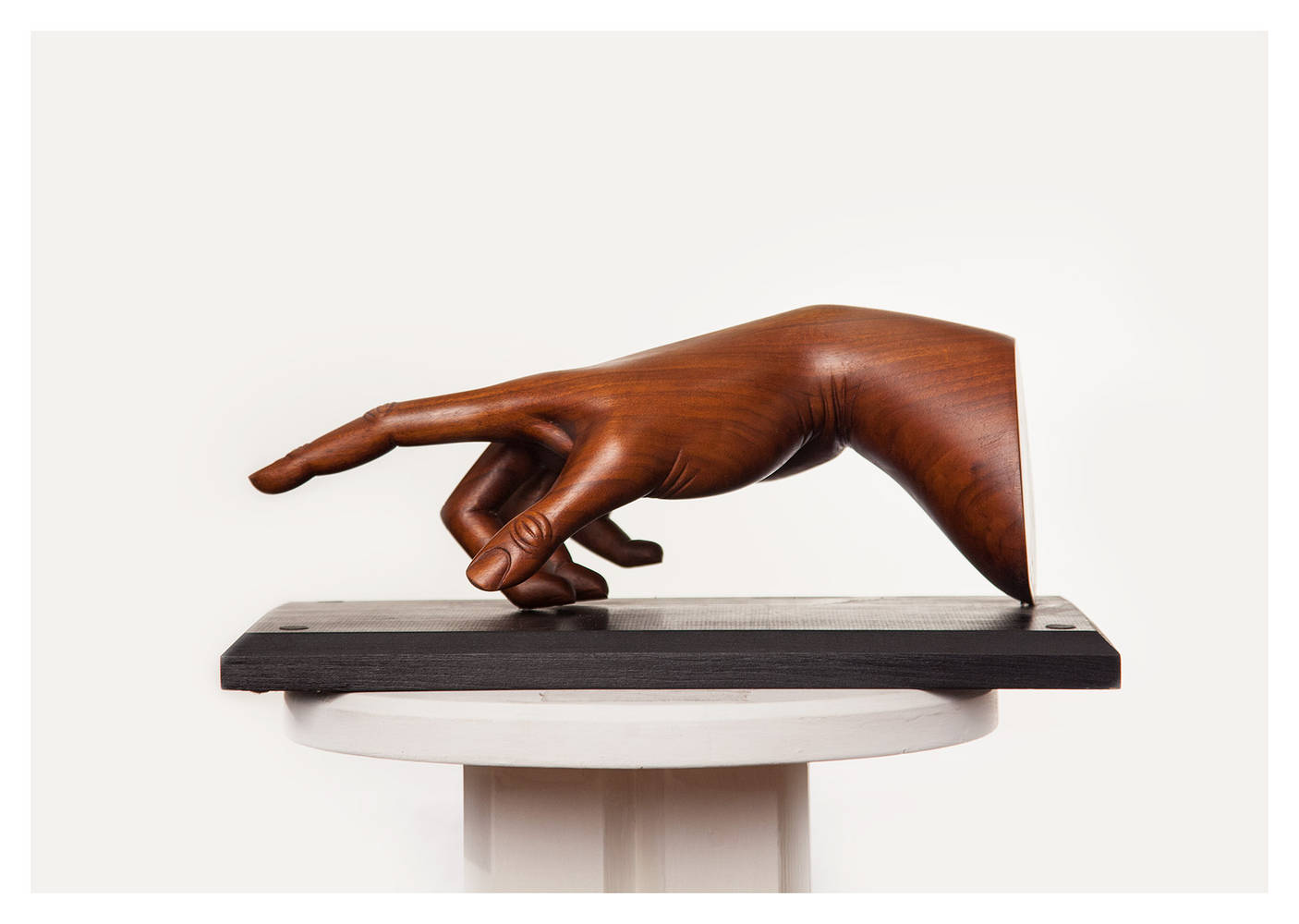 Colossal Hand, Walnut - 15 x 7 x 7 Inches by Larry Scaturro