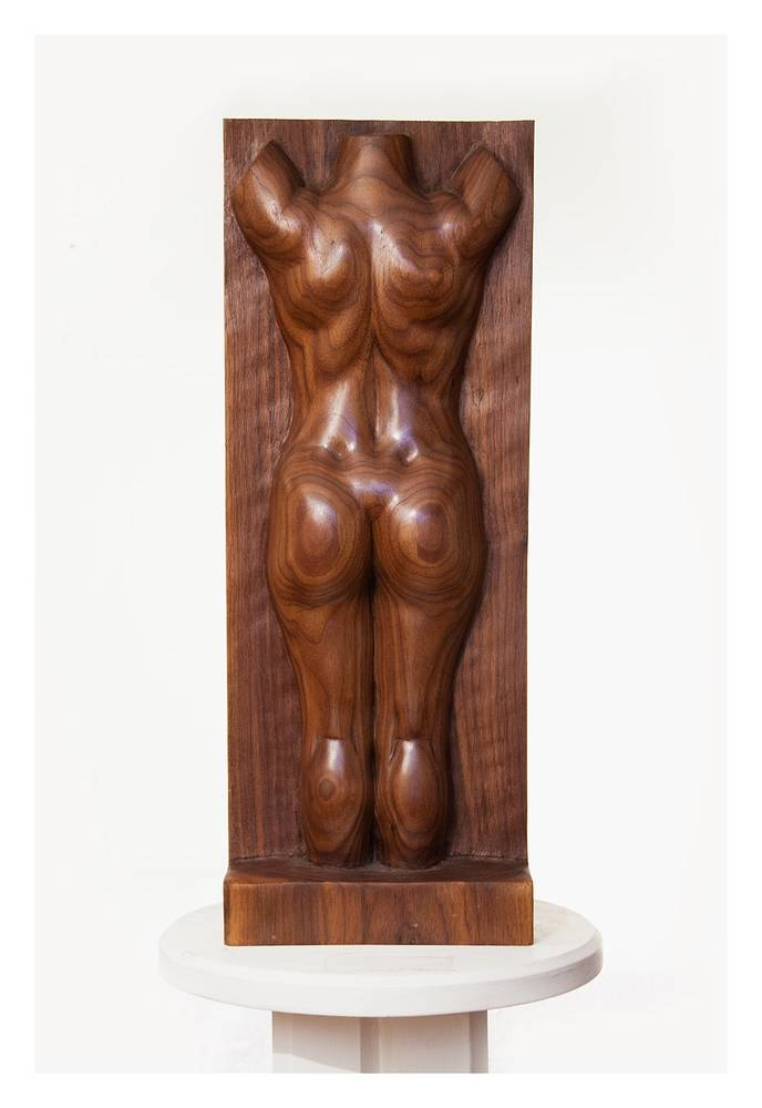 Dimples, Walnut - 28 x 10 x 3 by Larry Scaturro