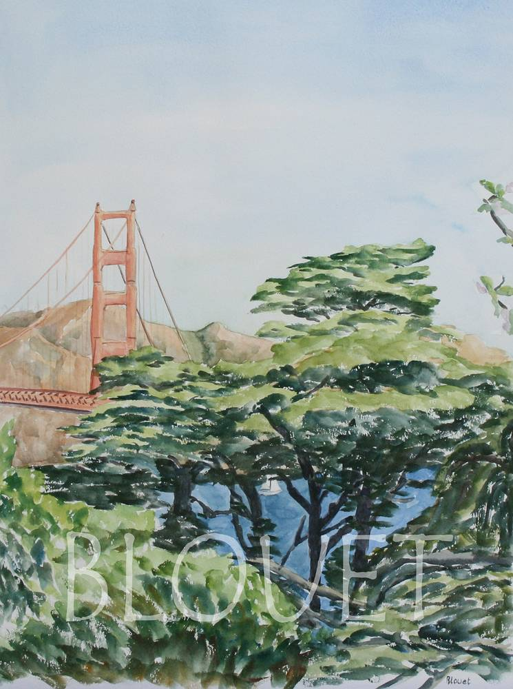 Watercolor Golden Gate Bridge behind Pine Trees by Sophie Dassonville