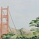 Watercolor WGolden Gate Bridge behind Pine Trees by Sophie Dassonville